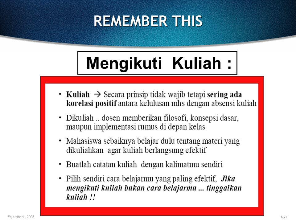 1-27 Fajardhani - 2005 REMEMBER THIS Mengikuti Kuliah :