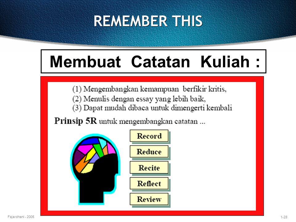 1-28 Fajardhani - 2005 REMEMBER THIS Membuat Catatan Kuliah :