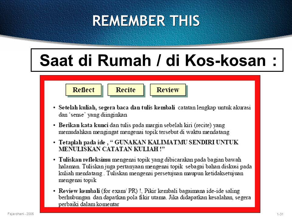 1-31 Fajardhani - 2005 REMEMBER THIS Saat di Rumah / di Kos-kosan :