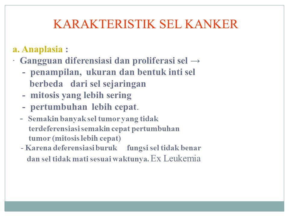 KARAKTERISTIK SEL KANKER a. Anaplasia : · Gangguan diferensiasi dan proliferasi sel → - penampilan, ukuran dan bentuk inti sel berbeda dari sel sejari