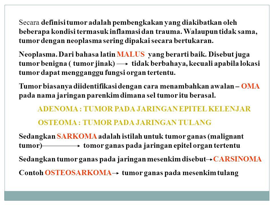 Secara definisi tumor adalah pembengkakan yang diakibatkan oleh beberapa kondisi termasuk inflamasi dan trauma. Walaupun tidak sama, tumor dengan neop