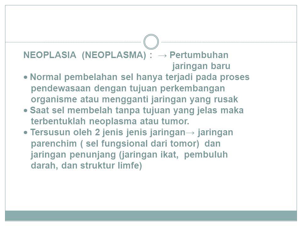 Klasifikasi 1. benigna (tumor jinak) 2. maligna (tumor ganas).