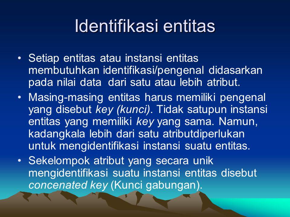 Identifikasi entitas Setiap entitas atau instansi entitas membutuhkan identifikasi/pengenal didasarkan pada nilai data dari satu atau lebih atribut.