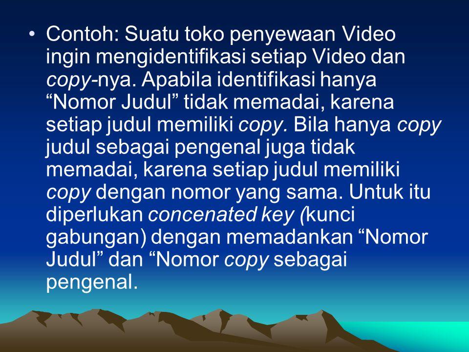 Contoh: Suatu toko penyewaan Video ingin mengidentifikasi setiap Video dan copy-nya.
