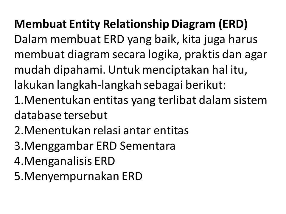 Membuat Entity Relationship Diagram (ERD) Dalam membuat ERD yang baik, kita juga harus membuat diagram secara logika, praktis dan agar mudah dipahami.