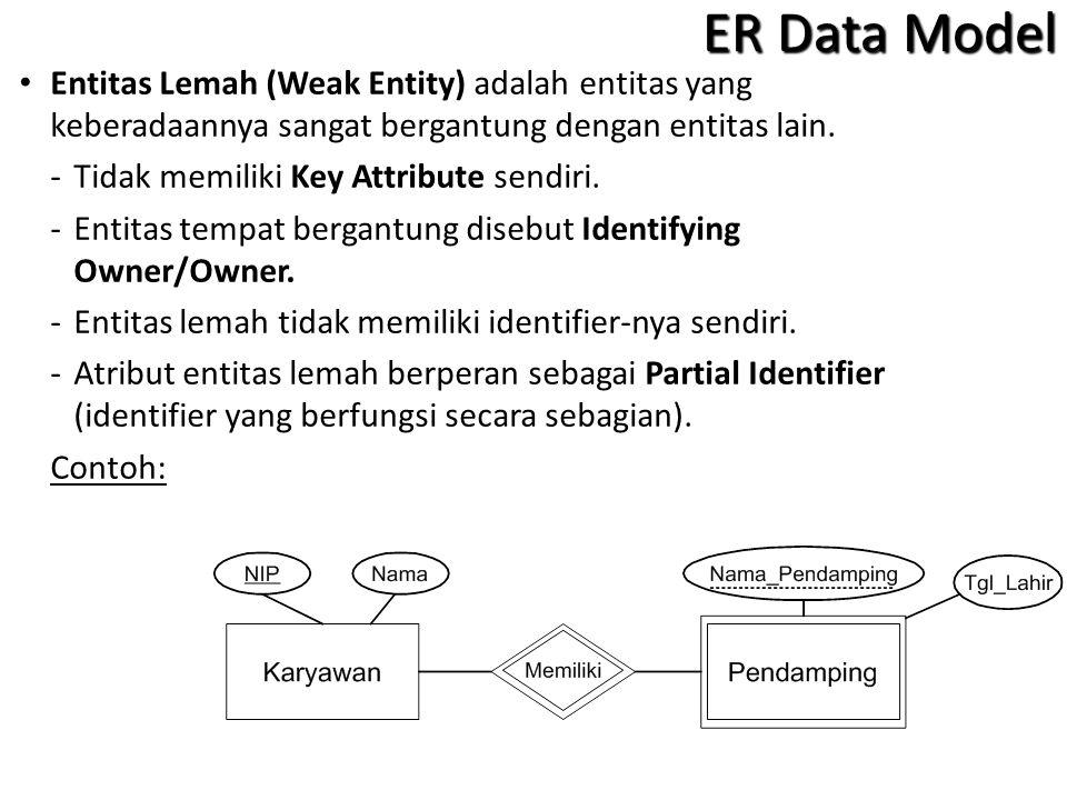 Entitas Lemah (Weak Entity) adalah entitas yang keberadaannya sangat bergantung dengan entitas lain.