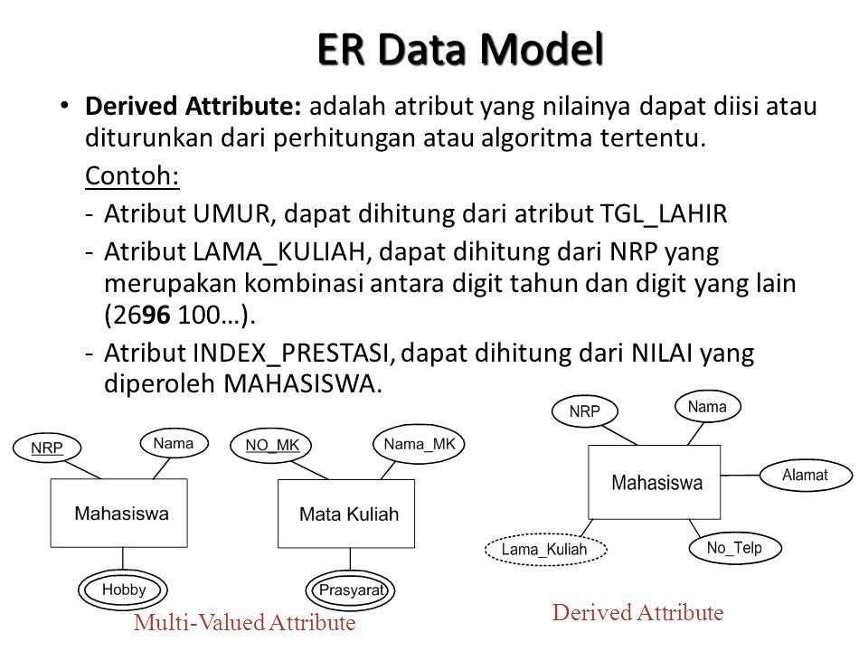ER Data Model Derived Attribute: adalah atribut yang nilainya dapat diisi atau diturunkan dari perhitungan atau algoritma tertentu.
