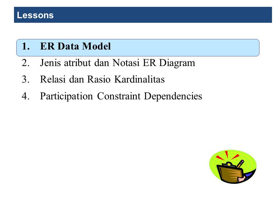 Jenis Atribut dan Notasi ER Diagram Ada beberapa notasi yang digunakan untuk membuat ER Diagram.
