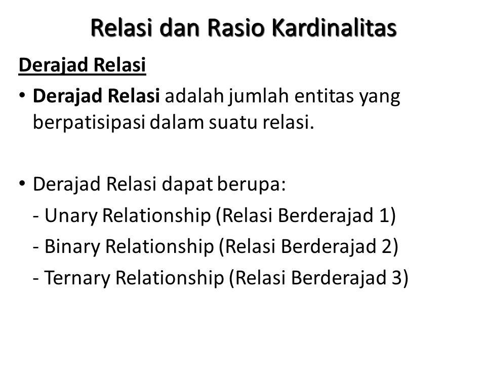 Relasi dan Rasio Kardinalitas Derajad Relasi Derajad Relasi adalah jumlah entitas yang berpatisipasi dalam suatu relasi.