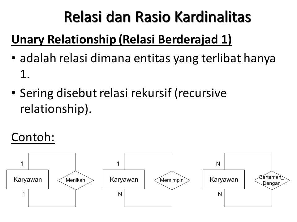 Relasi dan Rasio Kardinalitas Unary Relationship (Relasi Berderajad 1) adalah relasi dimana entitas yang terlibat hanya 1.