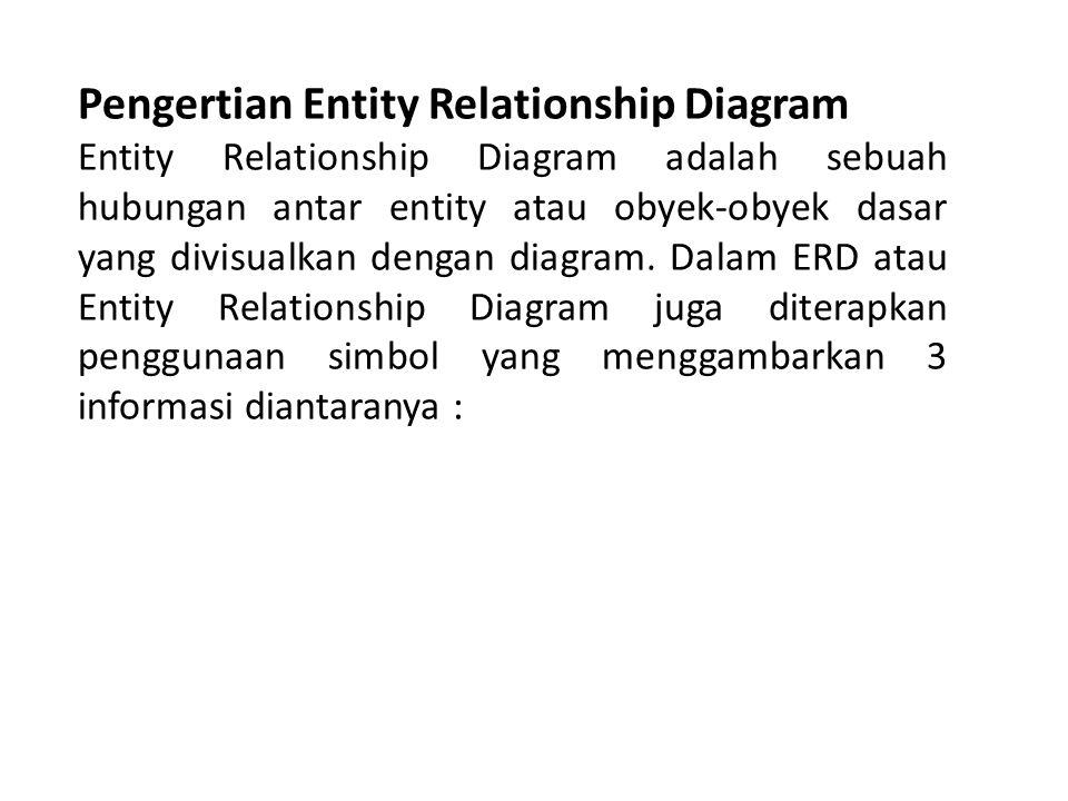 Pengertian Entity Relationship Diagram Entity Relationship Diagram adalah sebuah hubungan antar entity atau obyek-obyek dasar yang divisualkan dengan diagram.