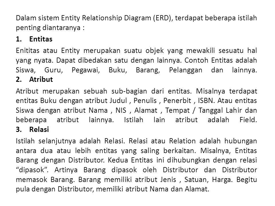 Dalam sistem Entity Relationship Diagram (ERD), terdapat beberapa istilah penting diantaranya : 1.