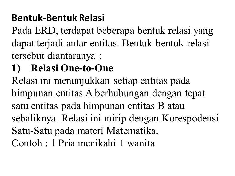 Bentuk-Bentuk Relasi Pada ERD, terdapat beberapa bentuk relasi yang dapat terjadi antar entitas.