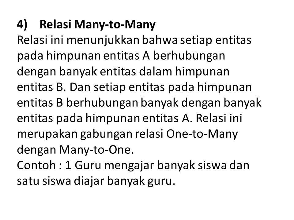Relasi dan Rasio Kardinalitas Ternary Relationship (Relasi Berderajad 3) adalah relasi tunggal yang menghubungkan 3 entitas yang berbeda.