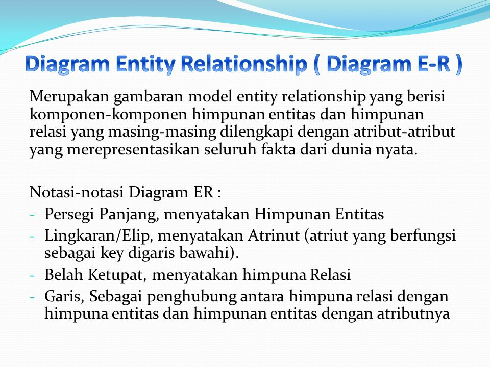 Merupakan gambaran model entity relationship yang berisi komponen-komponen himpunan entitas dan himpunan relasi yang masing-masing dilengkapi dengan a