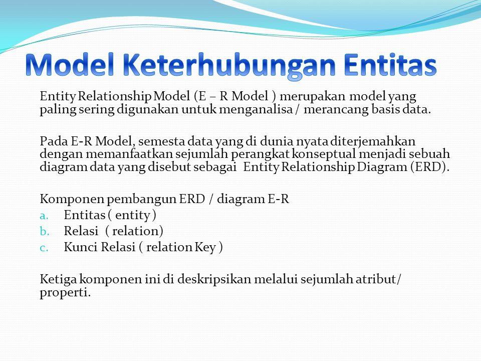 Entity Relationship Model (E – R Model ) merupakan model yang paling sering digunakan untuk menganalisa / merancang basis data. Pada E-R Model, semest