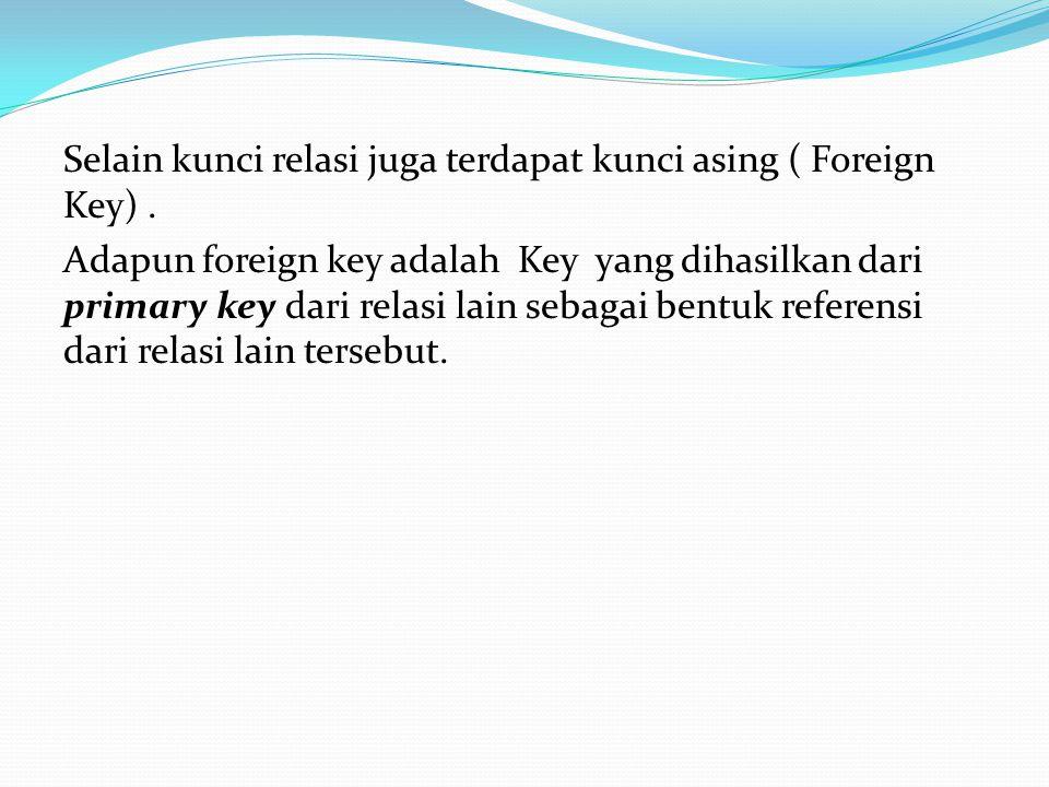 Selain kunci relasi juga terdapat kunci asing ( Foreign Key). Adapun foreign key adalah Key yang dihasilkan dari primary key dari relasi lain sebagai