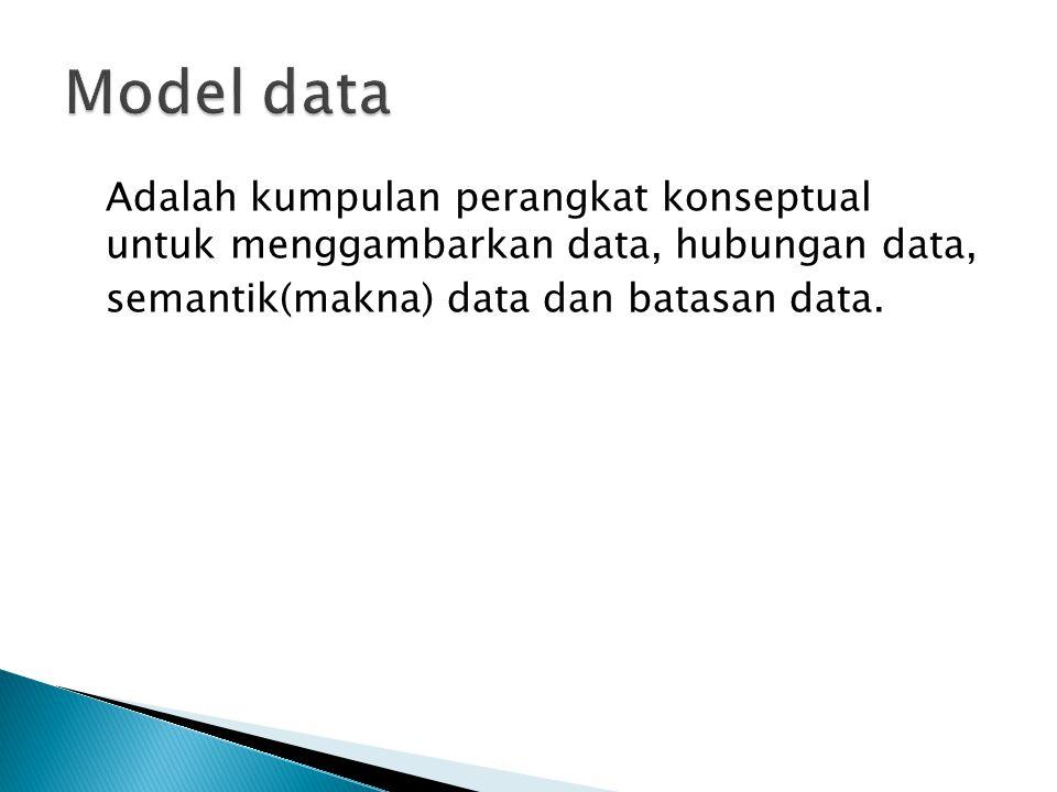 Perancangan model data secara umum terbagi dalam 2 kelompok: 1.