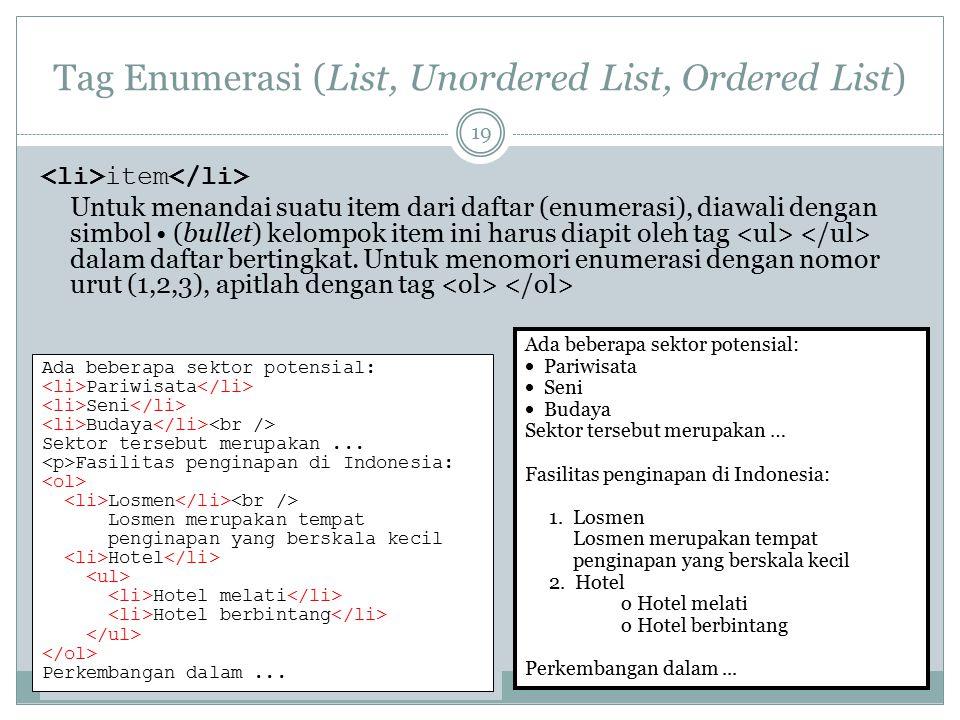 Tag Enumerasi (List, Unordered List, Ordered List) item Untuk menandai suatu item dari daftar (enumerasi), diawali dengan simbol (bullet) kelompok ite