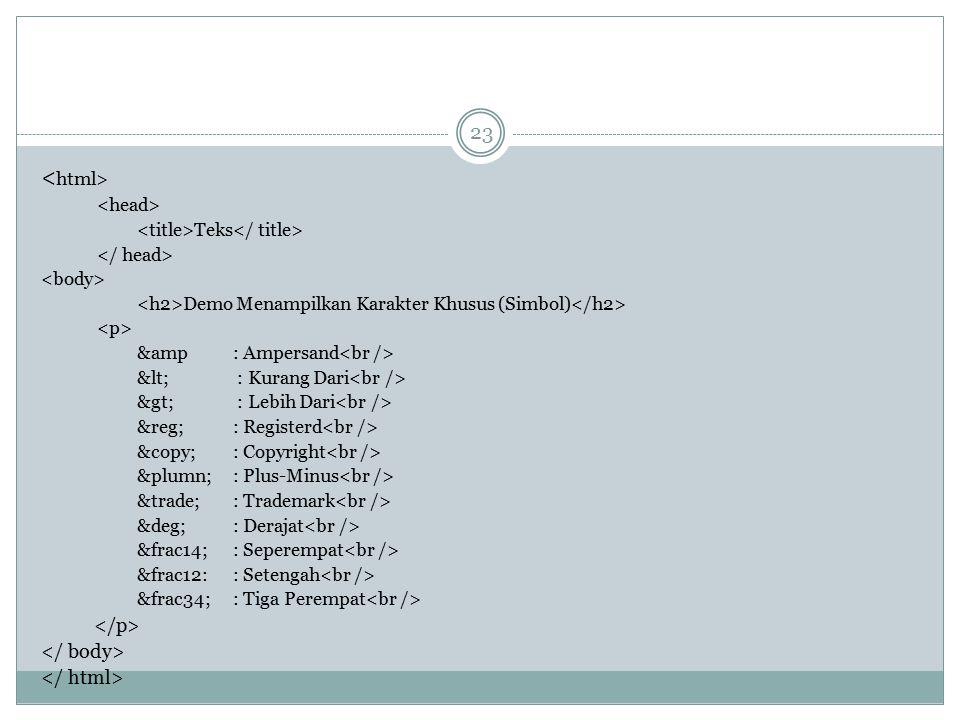 Teks Demo Menampilkan Karakter Khusus (Simbol) &amp : Ampersand < : Kurang Dari > : Lebih Dari ® : Registerd ©: Copyright &plumn;: Plus
