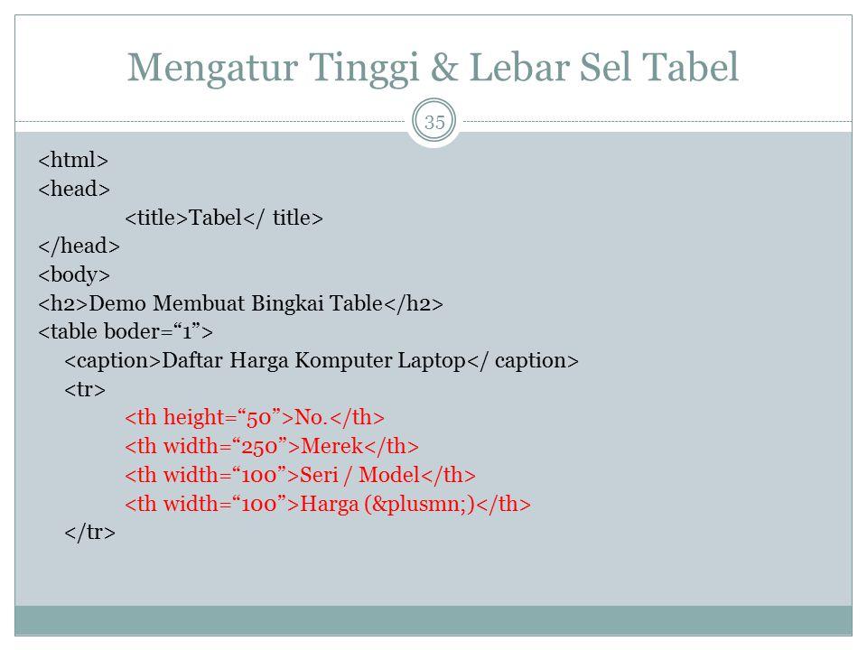 Mengatur Tinggi & Lebar Sel Tabel Tabel Demo Membuat Bingkai Table Daftar Harga Komputer Laptop No. Merek Seri / Model Harga (±) 35