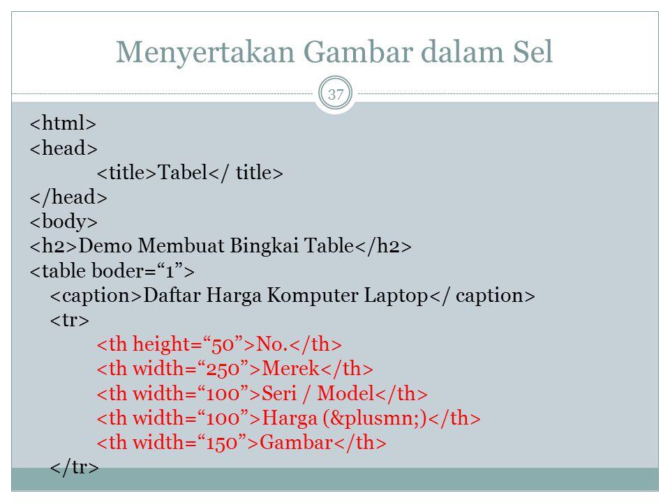 Menyertakan Gambar dalam Sel Tabel Demo Membuat Bingkai Table Daftar Harga Komputer Laptop No. Merek Seri / Model Harga (±) Gambar 37