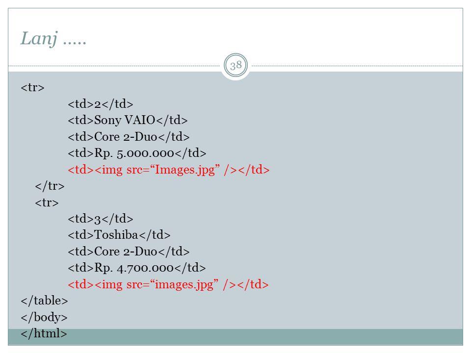 Lanj ….. 2 Sony VAIO Core 2-Duo Rp. 5.000.000 3 Toshiba Core 2-Duo Rp. 4.700.000 38