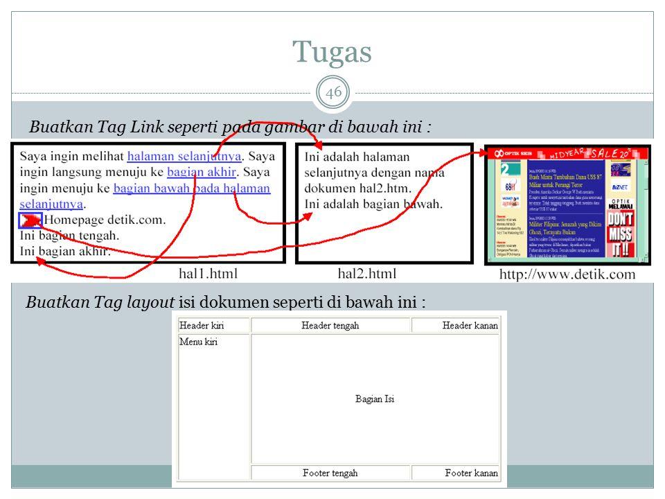Tugas 46 Buatkan Tag Link seperti pada gambar di bawah ini : Buatkan Tag layout isi dokumen seperti di bawah ini :
