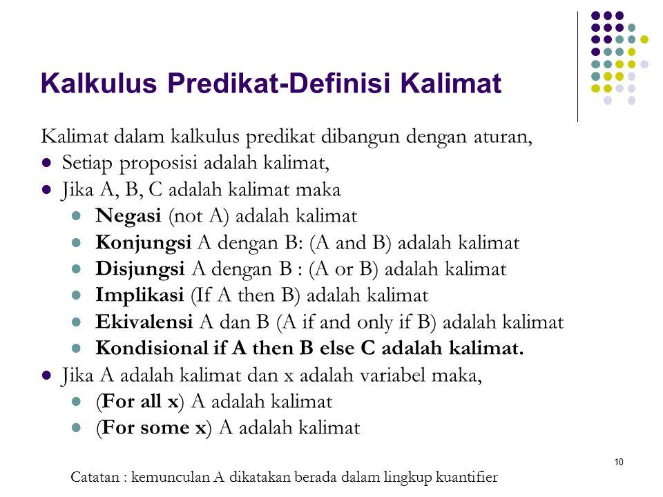10 Kalkulus Predikat-Definisi Kalimat Kalimat dalam kalkulus predikat dibangun dengan aturan, Setiap proposisi adalah kalimat, Jika A, B, C adalah kal