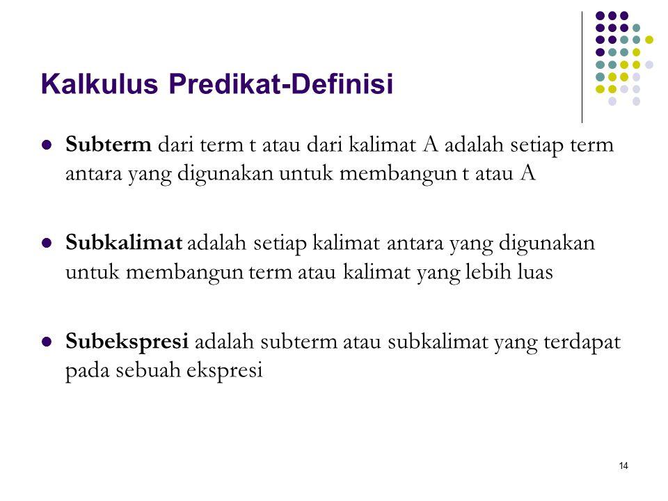 14 Kalkulus Predikat-Definisi Subterm dari term t atau dari kalimat A adalah setiap term antara yang digunakan untuk membangun t atau A Subkalimat adalah setiap kalimat antara yang digunakan untuk membangun term atau kalimat yang lebih luas Subekspresi adalah subterm atau subkalimat yang terdapat pada sebuah ekspresi