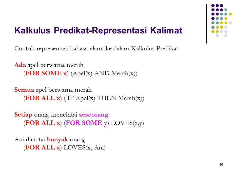 16 Kalkulus Predikat-Representasi Kalimat Contoh representasi bahasa alami ke dalam Kalkulus Predikat Ada apel berwarna merah (FOR SOME x) (Apel(x) AND Merah(x)) Semua apel berwarna merah (FOR ALL x) ( IF Apel(x) THEN Merah(x)) Setiap orang mencintai seseorang (FOR ALL x) (FOR SOME y) LOVES(x,y) Ani dicintai banyak orang (FOR ALL x) LOVES(x, Ani)