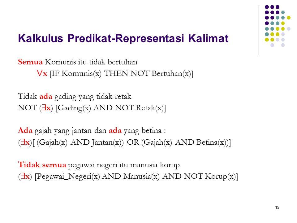 19 Kalkulus Predikat-Representasi Kalimat Semua Komunis itu tidak bertuhan  x [IF Komunis(x) THEN NOT Bertuhan(x)] Tidak ada gading yang tidak retak