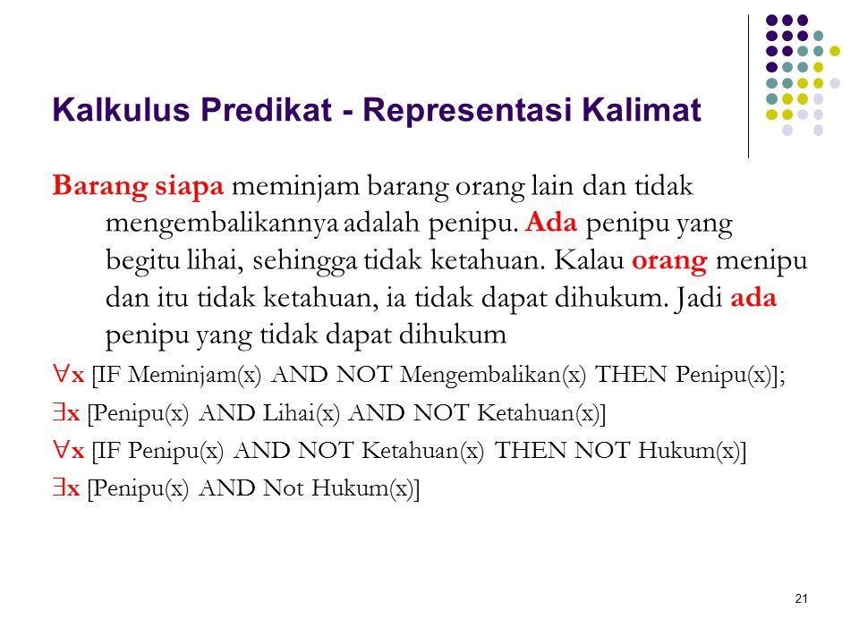 21 Kalkulus Predikat - Representasi Kalimat Barang siapa meminjam barang orang lain dan tidak mengembalikannya adalah penipu. Ada penipu yang begitu l