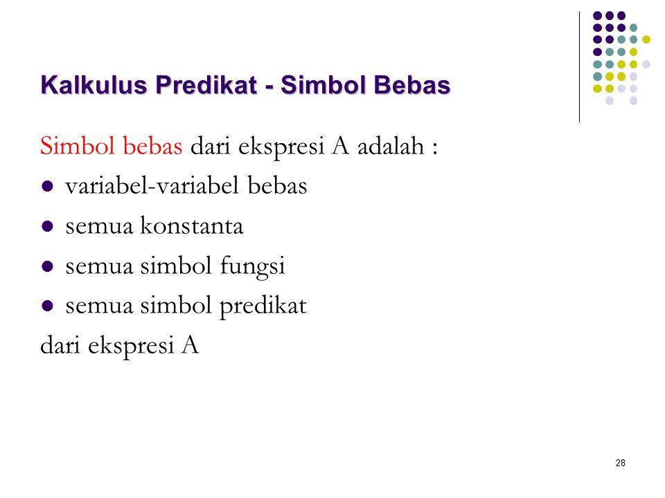28 Kalkulus Predikat - Simbol Bebas Simbol bebas dari ekspresi A adalah : variabel-variabel bebas semua konstanta semua simbol fungsi semua simbol predikat dari ekspresi A