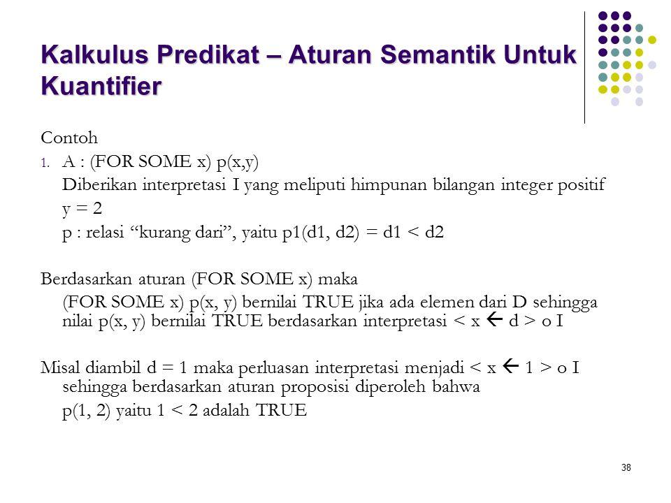 38 Kalkulus Predikat – Aturan Semantik Untuk Kuantifier Contoh 1. A : (FOR SOME x) p(x,y) Diberikan interpretasi I yang meliputi himpunan bilangan int