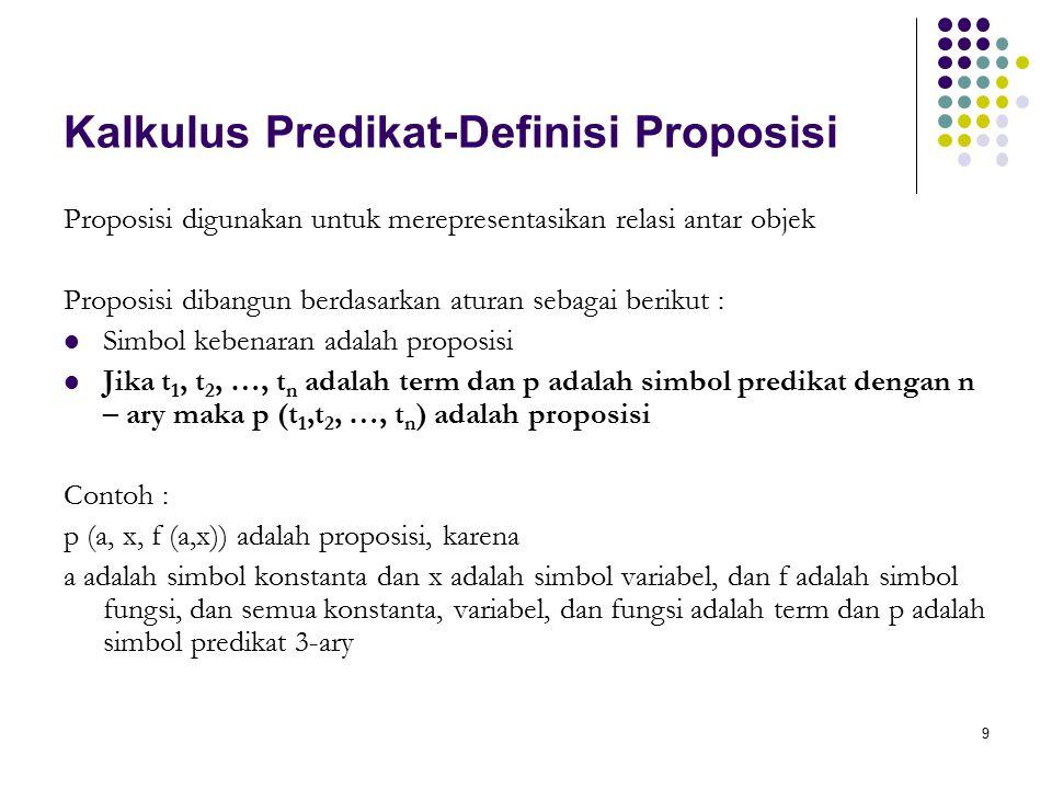 9 Kalkulus Predikat-Definisi Proposisi Proposisi digunakan untuk merepresentasikan relasi antar objek Proposisi dibangun berdasarkan aturan sebagai berikut : Simbol kebenaran adalah proposisi Jika t 1, t 2, …, t n adalah term dan p adalah simbol predikat dengan n – ary maka p (t 1,t 2, …, t n ) adalah proposisi Contoh : p (a, x, f (a,x)) adalah proposisi, karena a adalah simbol konstanta dan x adalah simbol variabel, dan f adalah simbol fungsi, dan semua konstanta, variabel, dan fungsi adalah term dan p adalah simbol predikat 3-ary