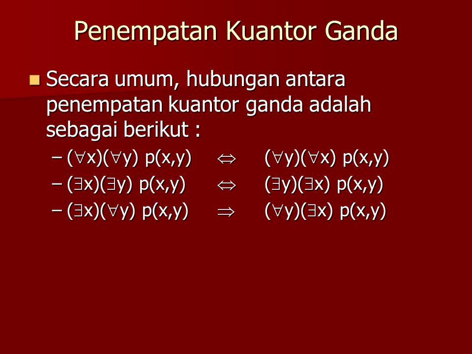 Penempatan Kuantor Ganda Secara umum, hubungan antara penempatan kuantor ganda adalah sebagai berikut : Secara umum, hubungan antara penempatan kuanto