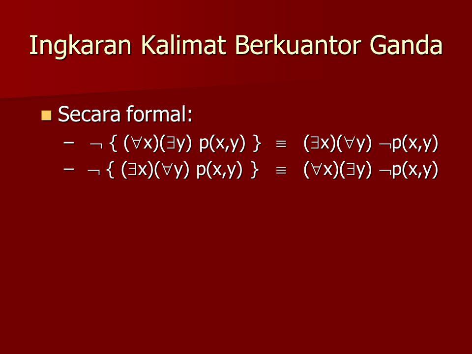 Ingkaran Kalimat Berkuantor Ganda Secara formal: Secara formal: –  { (  x)(  y) p(x,y) }  (  x)(  y)  p(x,y) –  { (  x)(  y) p(x,y) }  ( 