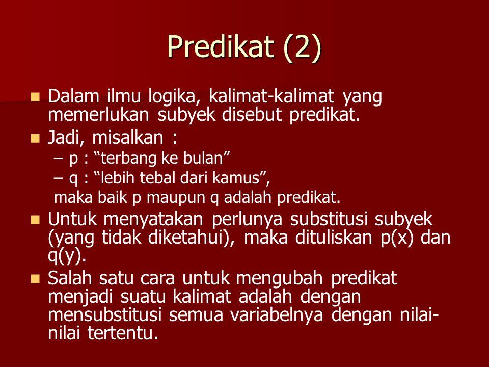 "Predikat (2) Dalam ilmu logika, kalimat-kalimat yang memerlukan subyek disebut predikat. Jadi, misalkan : – –p : ""terbang ke bulan"" – –q : ""lebih teba"