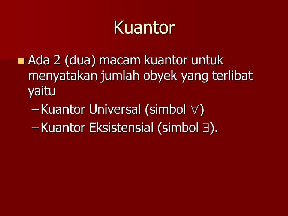 Contoh (7b) Nyatakan kalimat di bawah ini dengan menggunakan kuantor .