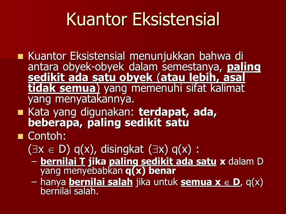 Kuantor Eksistensial Kuantor Eksistensial menunjukkan bahwa di antara obyek-obyek dalam semestanya, paling sedikit ada satu obyek (atau lebih, asal ti