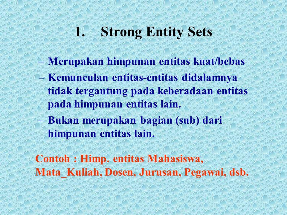 1.Strong Entity Sets –Merupakan himpunan entitas kuat/bebas –Kemunculan entitas-entitas didalamnya tidak tergantung pada keberadaan entitas pada himpu
