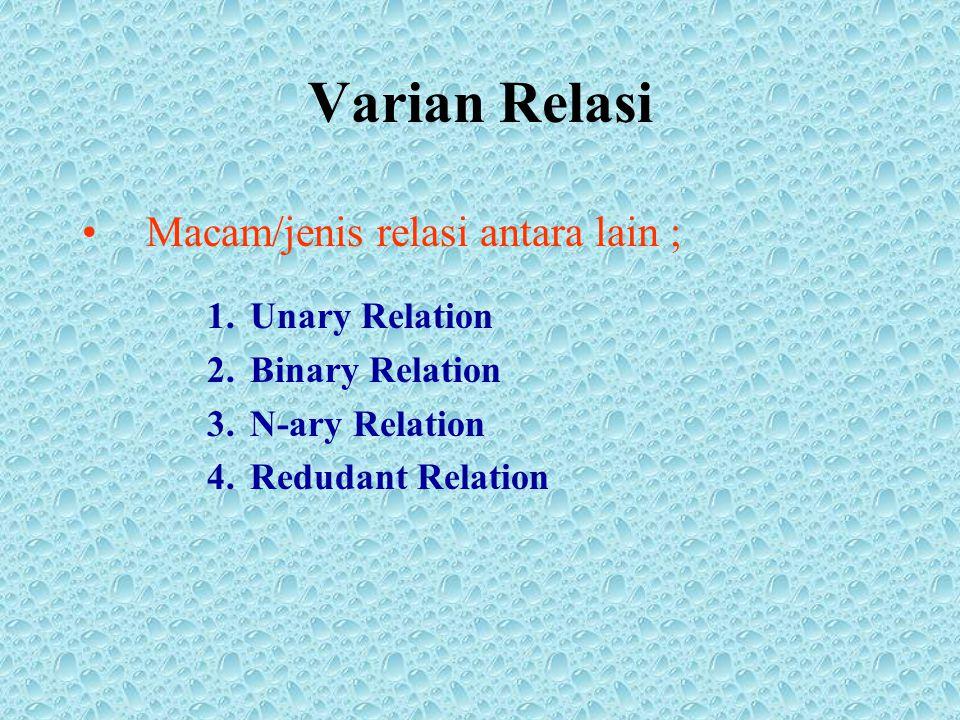 Varian Relasi Macam/jenis relasi antara lain ; 1.Unary Relation 2.Binary Relation 3.N-ary Relation 4.Redudant Relation