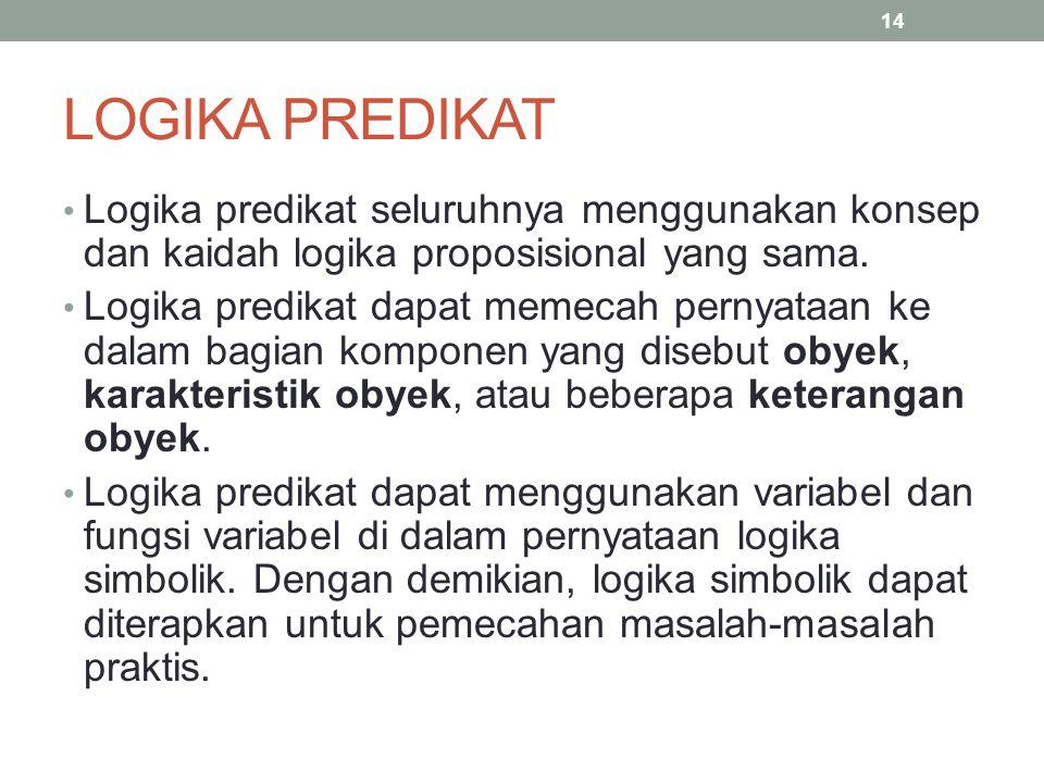 LOGIKA PREDIKAT Logika predikat seluruhnya menggunakan konsep dan kaidah logika proposisional yang sama. Logika predikat dapat memecah pernyataan ke d
