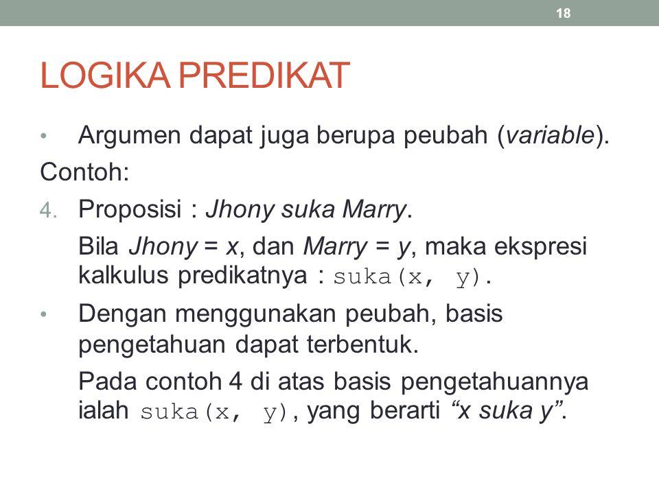 LOGIKA PREDIKAT Argumen dapat juga berupa peubah (variable). Contoh: 4. Proposisi : Jhony suka Marry. Bila Jhony = x, dan Marry = y, maka ekspresi kal