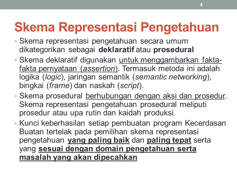 Skema Representasi Pengetahuan Skema representasi pengetahuan secara umum dikategorikan sebagai deklaratif atau prosedural Skema deklaratif digunakan