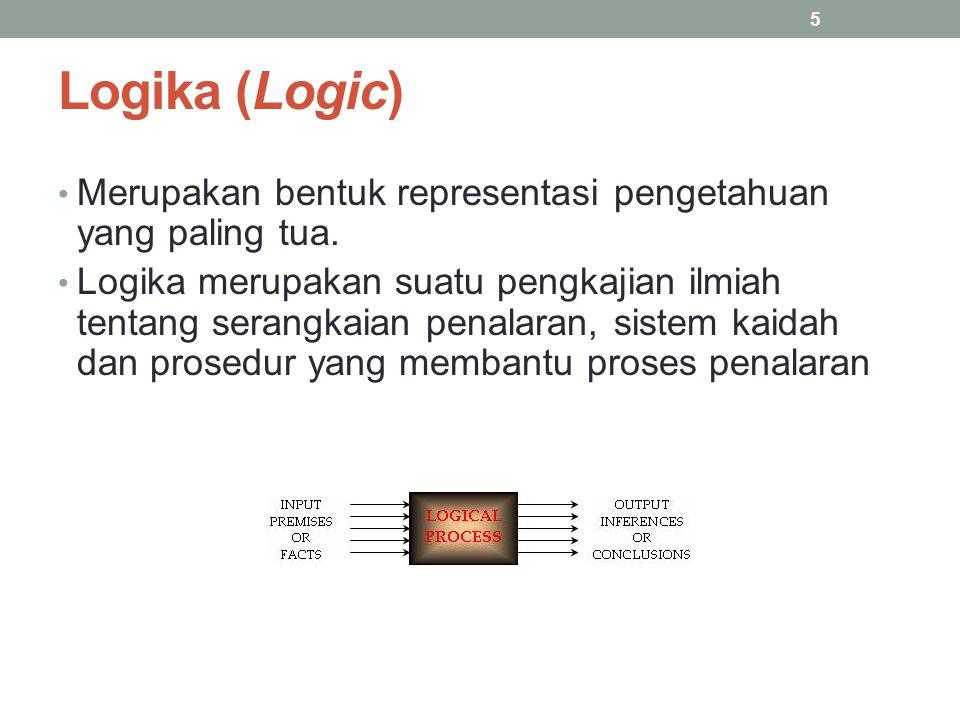Logika (Logic) Merupakan bentuk representasi pengetahuan yang paling tua. Logika merupakan suatu pengkajian ilmiah tentang serangkaian penalaran, sist