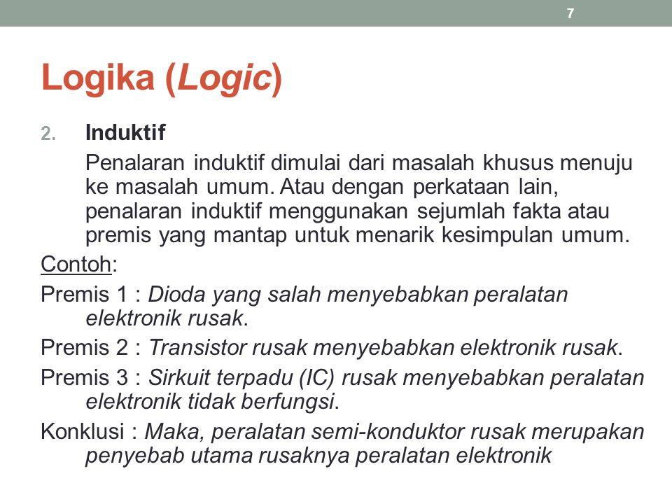 Logika (Logic) 2. Induktif Penalaran induktif dimulai dari masalah khusus menuju ke masalah umum. Atau dengan perkataan lain, penalaran induktif mengg