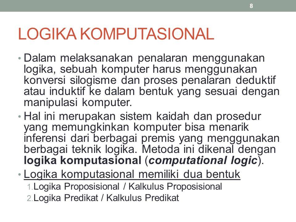 LOGIKA PROPOSISIONAL Suatu proposisi tidak lebih daripada suatu pernyataan (statement) yang menyatakan benar atau salah.