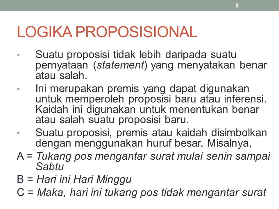 LOGIKA PROPOSISIONAL Dua atau lebih proposisi bisa digabungkan dengan menggunakan penghubung logika/operator logika, yaitu and, or, not dan implies.